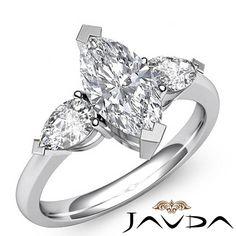 Women's 3 Stone Marquise Diamond Engagement Ring EGL F SI1 14k White Gold 1 5 Ct | eBay