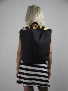 Black canvas water resistant minimalist backpack with zipper, Minimal rucksack, Book Bag, Travel Bag