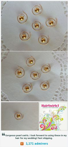 Simulated Golden Pearls for your hair   Hair Swirls Hair Spins Spirals Twists Coils Visit HairSwirls1.com or HairSwirls.com to see lots of colors and designs, and to purchase. https://www.etsy.com/listing/184268474/