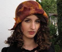 Copper Brown Fall Felt Hat Free Form Cloche OOAK Autumn Earthy Colors Warm Wool Silk on Etsy, $80.00