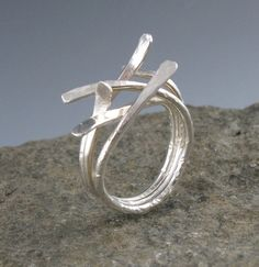 Sterling Silver Sticks RingHandmade by annewalkerjewelry on Etsy, $75.00