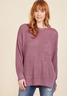 <p>You'll nail the oversized sweater look with this mauve pullover! Accented with a chest pocket and a vented step hem, this soft and stylish top is just waiting to be blogged.</p>
