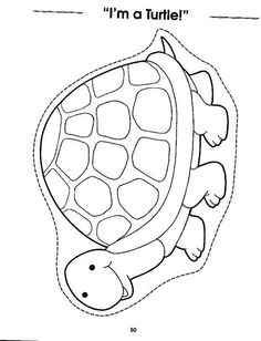 Color and cut on dotted line Colouring Pages, Coloring Sheets, Reptiles Preschool, Turtle Crafts, T Craft, Art For Kids, Crafts For Kids, Paper Puppets, Alphabet For Kids