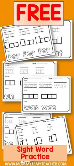 , 22 Free Printable Homeschool Curriculum I just printed free sight word worksheets for my home. , 22 Free Printable Homeschool Curriculum I just printed free sight word worksheets for my homeschool. Preschool Sight Words, Teaching Sight Words, Sight Word Practice, Sight Word Games, Kindergarten Sight Word Worksheets, Pre K Sight Words, Kindergarten Curriculum, Dolch Sight Words Kindergarten, Learn To Read Kindergarten