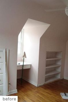 built-in shelves for dormer area