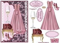 It s A Ladies Night Card Front on Craftsuprint designed by Sandra Carlse - A lovely ladies card front with all things for a ladies night out - the beautiful pink satin dress with matching handbag and shoes, a string of pearls, a pretty bow and to finish it of a lovely sweet glass of wine - perfect! There are all the decoupage elements on this sheet for you to be able to make up this stunning card. There is a selection of sentiment banners. I have also designed an insert - cup309044_719 to…