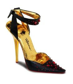 NIB Just The Right Shoe Devil May Care Black with Gold Trim #Collectible