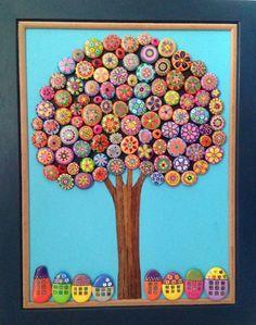 Art panel made of handpainted rocks. Love it