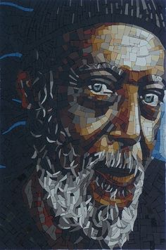 GrandPa, mosaic by Francoise Moulet Glass Wall Art, Stained Glass Art, Mosaic Glass, Mosaic Portrait, Mosaic Artwork, Mosaic Pieces, Mosaic Madness, Mosaic Crafts, Portraits