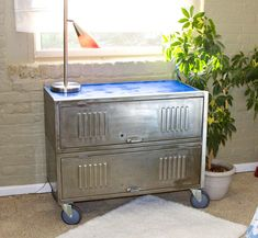 repurposed vintage locker storage cabinet - may try this for the deck at the lake to store fishing poles