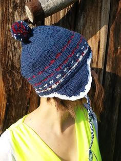 Knitted blue hat