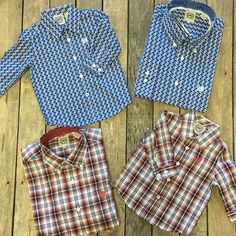 """More daddy & me! ❤️ Red plaid Infant Button Up $34.99 3-6 m, 6-12m,12-18m, 2T-3T, $39.99 YL-YXL  Blue Printed Infant Button Up $29.99 3-6m, 12-18m, $31.992T-3T, $35.99 XS-L, XXL  Adult Red Plaid Button Up $64.99 XS-M, XXL  Adult Blue Printed Button Up $59.99 S-XL We #ship! Call us to order! 903.322.4316 "" Photo taken by @daviscountrystore on Instagram, pinned via the InstaPin iOS App! http://www.instapinapp.com (01/26/2016)"