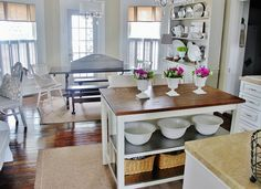 love the windows, table and benches and hutch