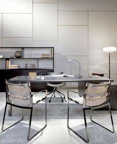 Fendi Casa Contemporary - Serengeti Executive desk and low bookshelf, Blixen chairs www.luxurylivinggroup.com #Fendi #LuxuryLivingGroup
