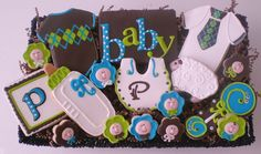 Baby boy cookies.  LOVE the colors of this.
