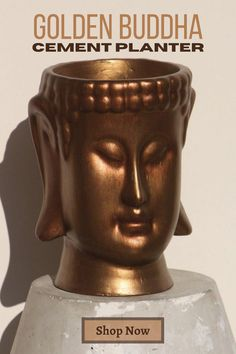 Planter made of high #quality #concrete and #handpainted with acrylic paints Decorative Planters, Concrete Planters, Handmade Home, Handmade Gifts, Golden Buddha, Buddha Head, Decorating Your Home, Apartments Decorating, Oil Painting Reproductions