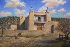 WILLIAM SUYS LAS TRAMPAS: PATIENCE oil on linen 24 x 36 in (60.96h x 91.44w cm) $8,400  The ancient San Jose de Gracia church has stood against its hillside backdrop in New Mexico's village of Las Trampas since 1760. Solitary, tired but seemingly immortal, the façade of this place is both ethereal and material, a symbol of perseverance, faith… and patience. A loyal donkey and anxious canine wait for their master to emerge from the church; are they in the 21st century or the 18th? Could be…