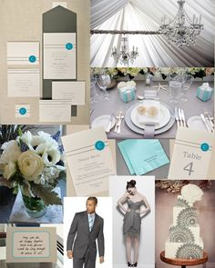 Inspiration and products for a gray and aqua event!