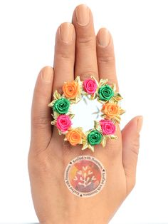Flower Power Ring (Green-Pink) Elegance vintage boho chic bohemian tribal indian ethnic indo-western handmade handcrafted quirky gypsy unique made in india ideas antique beautiful cool awesome indian wedding festive festival diwali party desi stone designer rings design bollywood colorful bright mandalas hand painted india fashion gold silver exotic fringe polki chaand afghani jewellery pakistani gota patti jewelery traditional statement sangeet mehendi jewellery bridesmaid kutchi afghan…