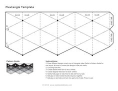 Instructions:  1. Draw different designs in each row of triangular sides. Refer to Pattern Guide for row layout. Be sure to connect the designs at the tick marks.  2. Cut along bold line.  3. Crease dashed lines face to face. Unfold.  4. Crease diagonal lines back to back. Unfold.  5. Gently fold paper to match dot to dot and form a tube.  6. Add glue on tabs marked GLUE and press together.  7. Add glue on end tabs and tuck into open end of tube. Press to seal.
