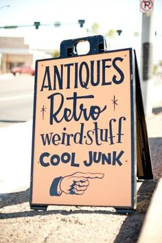 Great sidewalk sign for a vintage #consignment shop. Try other wording for your merchandise mix, but keep the jumble of fonts and the nostalgic pointing hand! #vintageclothing