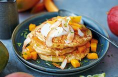 Mango pancakes with coconut and lime | Tesco Real Food