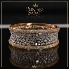 Diamond Jewelry Crafted with delicacy and precision, this stunning bracelet by Punjabi Saraf will stand out every time. Gold Ring Designs, Gold Bangles Design, Gold Jewellery Design, Jewellery Box, Jewellery Shops, Handmade Jewellery, Diamond Bracelets, Diamond Jewelry, Jewelry Bracelets
