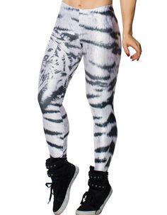 Fashion Sport Gray Tiger Printed Ladies Yoga Leggings