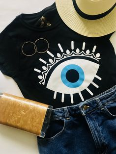 Evil Eye Protected Tee in black Queen Fashion, Love Fashion, Womens Fashion, Halloween Shirt, Halloween Outfits, Summer Outfits, Cute Outfits, Oeuvre D'art, Women's Fashion Dresses