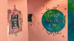 Woman paints motivational messages in middle school girls bathrooms - PHOTO: Shari Jackson Link of Fayetteville, N., painted positive messages in the girls bathrooms a -