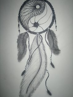 own drawing, dream catcher, ying and yang, feathers, beads, pretty, drawing, charcoal, pen
