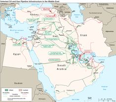 Oil and Gas Pipeline Infrastructure in the Middle East. This is the blowup of the interactive map mentioned in the description for another map on this board. The Middle, Middle East, World Oil, Gas Pipeline, Images Gif, Black Sea, Oil And Gas, Saudi Arabia, Arabia Saudí