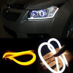 2PCS 60CM DRL FLEXIBLE LED TUBE STRIP STYLE DAYTIME RUNNING LIGHTS TEAR STRIP CAR HEADLIGHT TURN SIGNAL LIGHT PARKING LAMPS