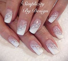 Encaje French Nails, French Manicure Nail Designs, Nail Art Designs, Lace Nails, Pink Nails, Em Nails, Gel Nail Art, Acrylic Nails, Engagement Nails