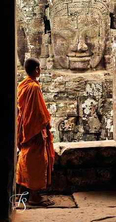 young Buddhist monk in Bayon, Siem Reap, Cambodia