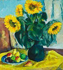 Moderne malerier: Jón Stefánsson: Nature morte med solsikker og frugter, 1943. Sign. Jón Stefansson; Olie på lærred. 100 x 92.