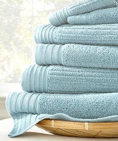 Love this Soft Blue Jacquard Bath Towel Set by Colonial Home Textiles on #zulily! #zulilyfinds