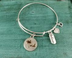 Wish Bangle Charm bracelet, Handmade Jewelry, Charm Bracelet, Custom Made Jewelry, Gift for her by JennisJewels on Etsy