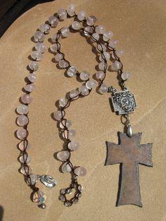 HandKnotted Rose Quartz Western Cross Necklace by fleurdesignz, $48.00