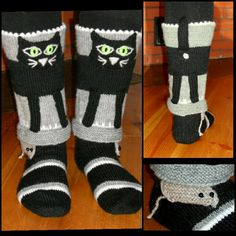 Kolmannet Kissasukat, hiiri kurkistaa nilkassa. My third Cat socks, a mouse peeking on the ankle.