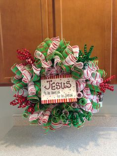 Christmas curly deco mesh wreath