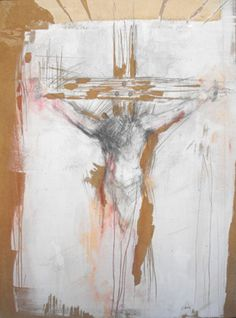 abstract modern art painting of Jesus crucixion