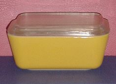 VINTAGE PYREX YELLOW REFRIGERATOR DISH with LID 1 1/2 PINT OVENWARE Retro Kitchen Decor #PYREX