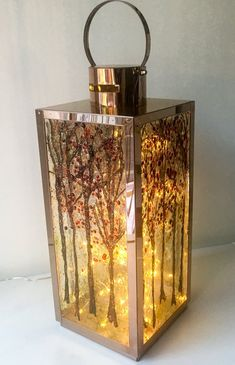 Autumn Trees lantern is lit with a string of micro lights Tree Lanterns, Lanterns Decor, Glass Lanterns, Fused Glass Art, Stained Glass Art, Bottle Painting, Bottle Art, Luminaire Design, Painted Wine Glasses