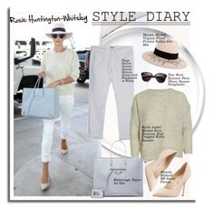 """""""Style diary: Rosie Huntington-Whiteley"""" by hamaly ❤ liked on Polyvore featuring Whiteley, Paige Denim, Balenciaga, Maison Michel, Tom Ford and Manolo Blahnik"""