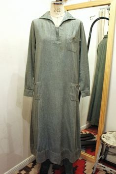 40'S~ GIRL SCOUT GREEN CHAMBRAY UNIFORM DRESS (GRN) - PATINAS VINTAGE CLOSET