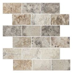 Bright mosaics of polished travertine ranging from milky slate gray to striated beige to brightly pockmarked honey.  In Tumbled, Andorra, and Amalfi.