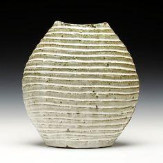 Bandana Pottery | Fluted Oval Vase | wood-fired stoneware, nuka glaze |  11.75x10.5x6