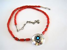 Native American Necklace, Richard Begay, Sterling and Coral, Hallmark with RB and Bear, Navajo Artist