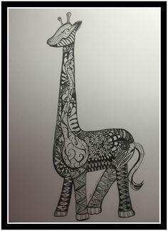 Zentangle Giraffe doodle